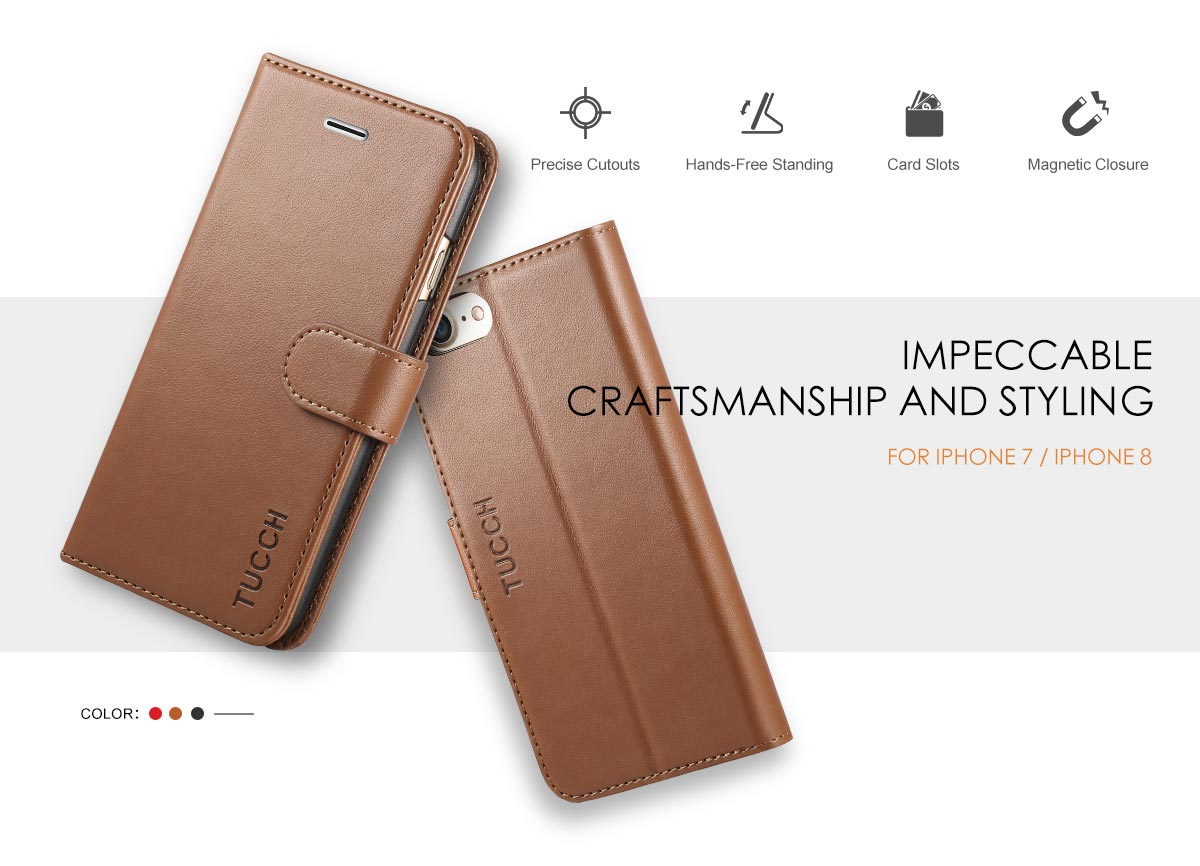 TUCCH iPhone 7 PU Leather Wallet Case