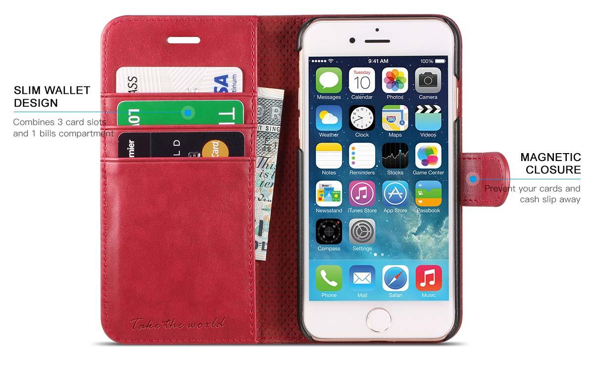 TUCCH iPhone 7 Premium PU Leather Flip Folio Wallet Case