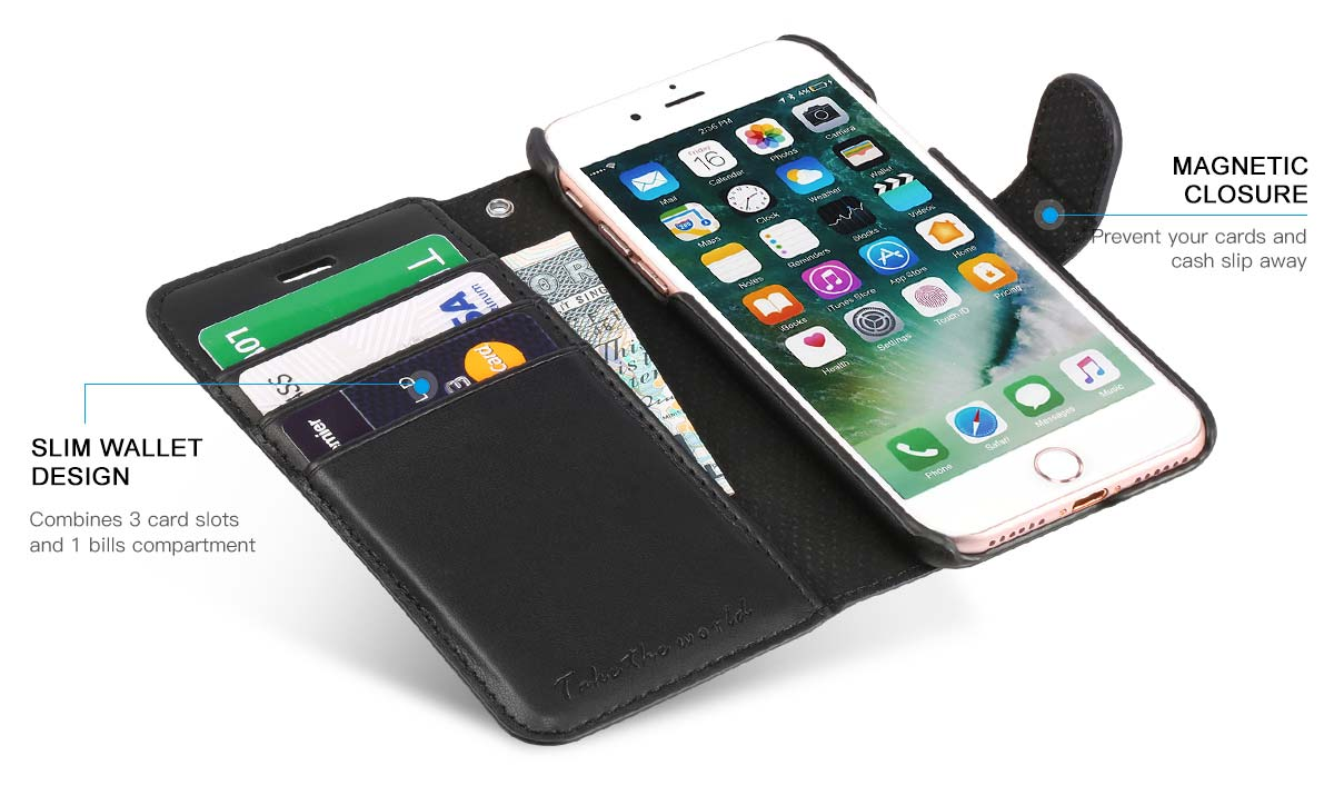 TUCCH iPhone 7 Wallet Case with Wrist Strap
