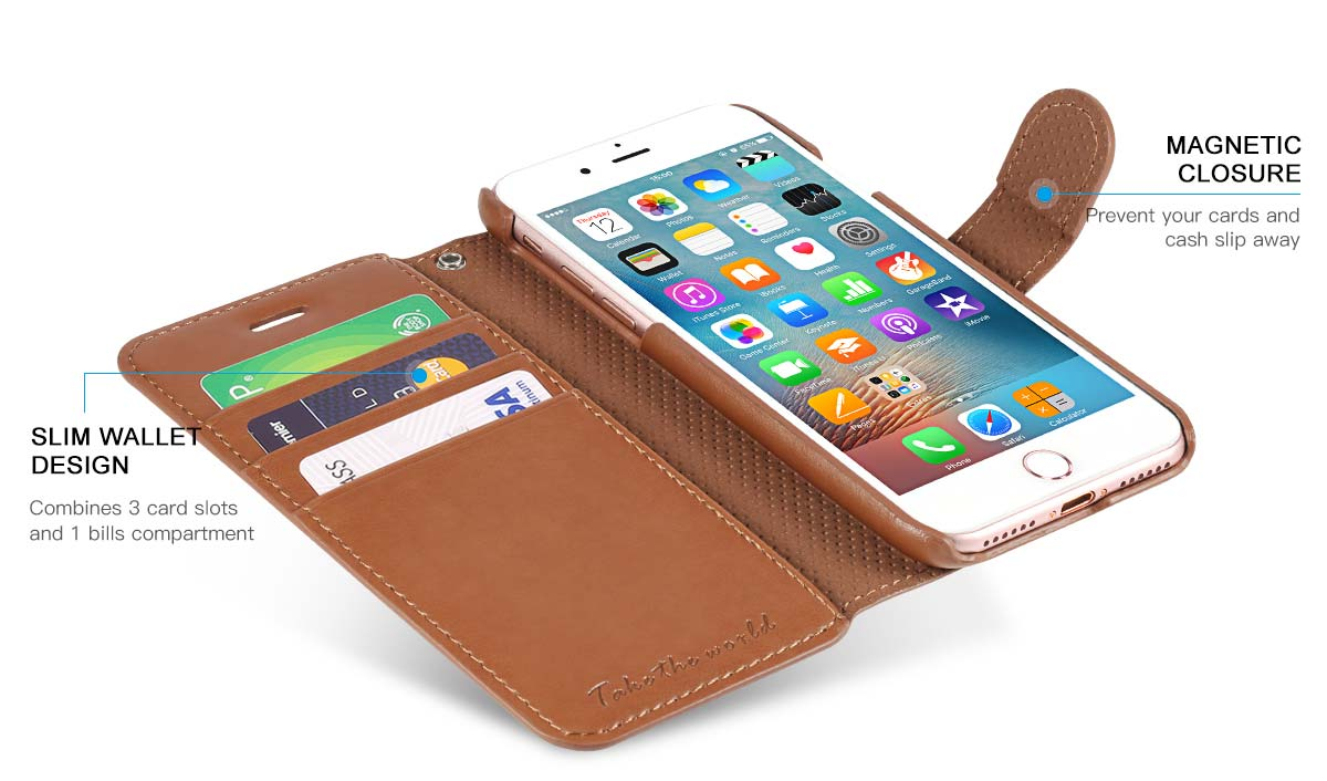 TUCCH iPhone 7 PU Leather Wallet Phone Case