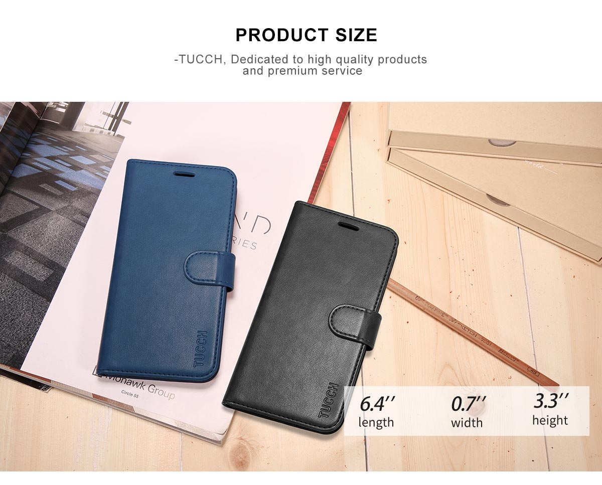 TUCCH iPhone 8 Plus PU Leather Wallet Case