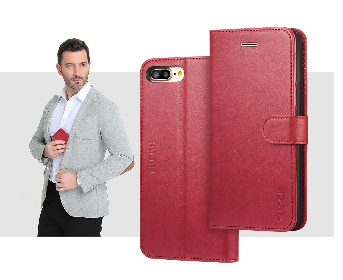 TUCCH iPhone 8 Plus PU Leather Case