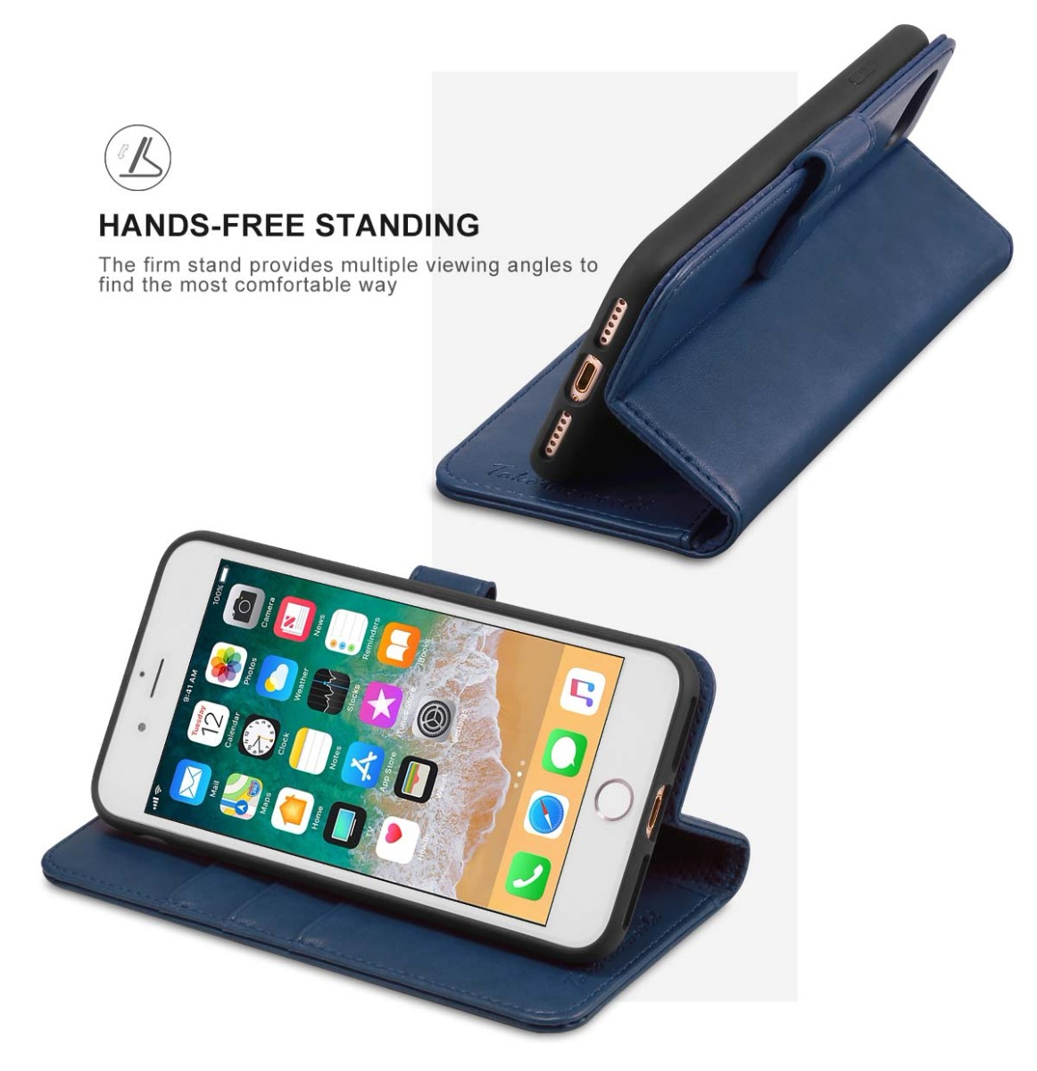 TUCCH iPhone 8 Leather Case with Stand Feature