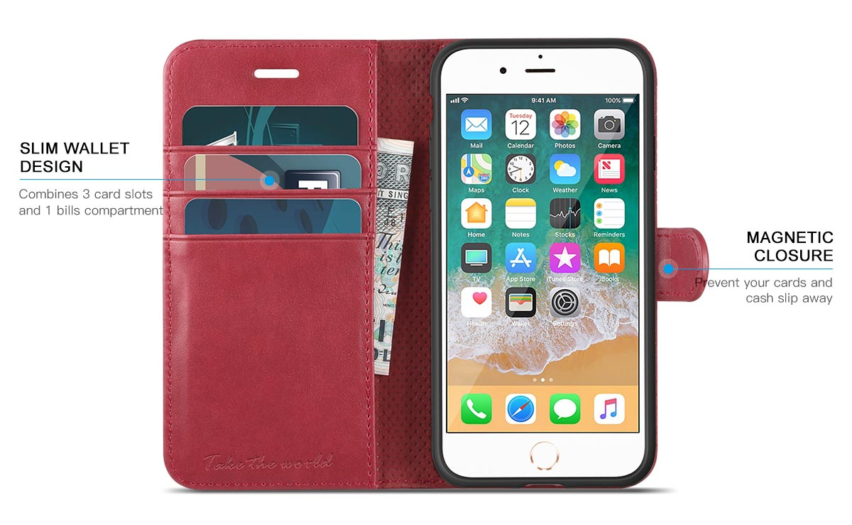 TUCCH iPhone 8 Premium Folio Leather Case with Magnetic Closure