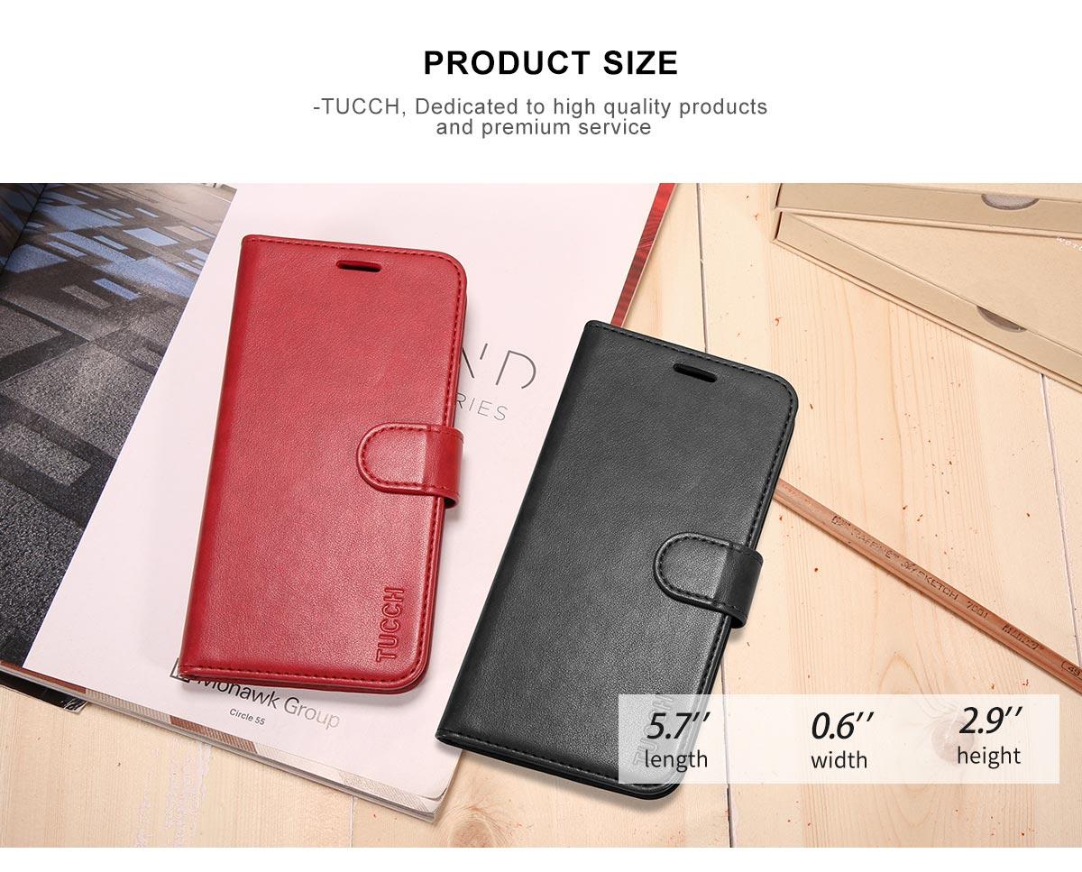 TUCCH iPhone 8 Premium Folio Leather Case with Magnetic Closure
