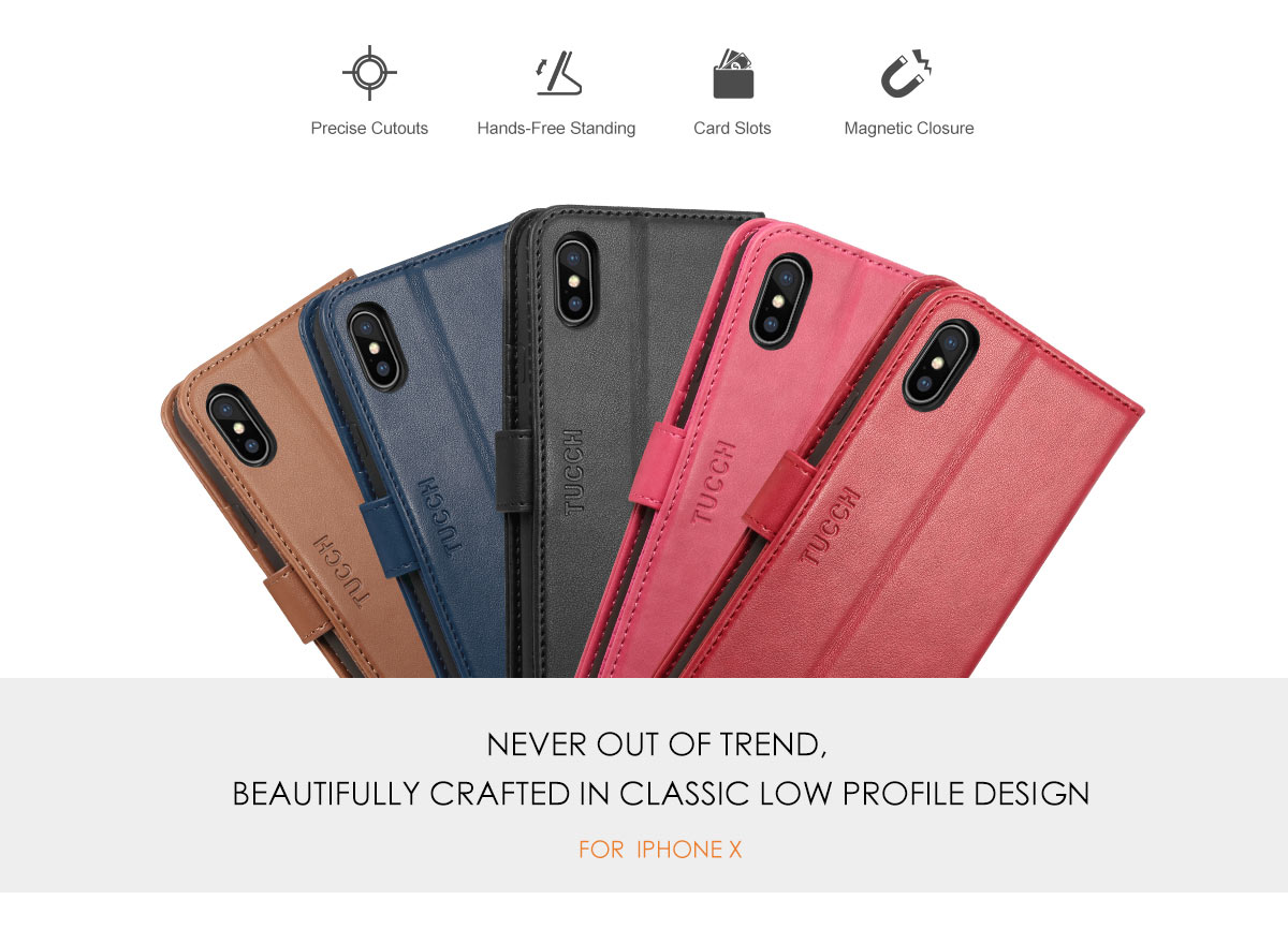 TUCCH iPhone X PU Leather Case