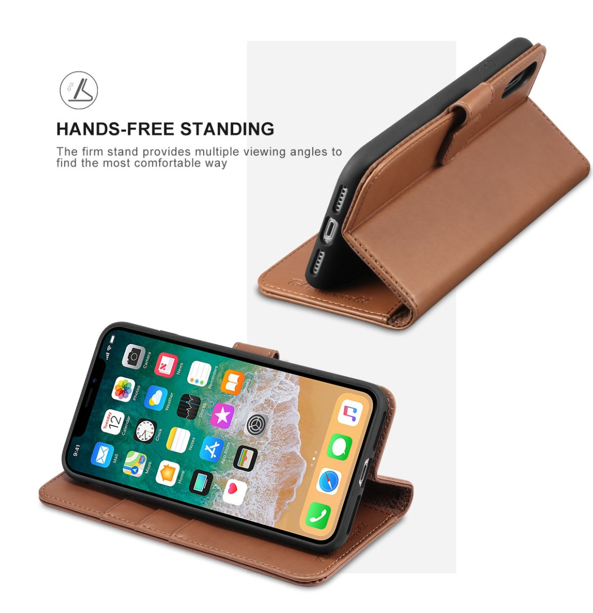 TUCCH iPhone X PU Leather Wallet Case