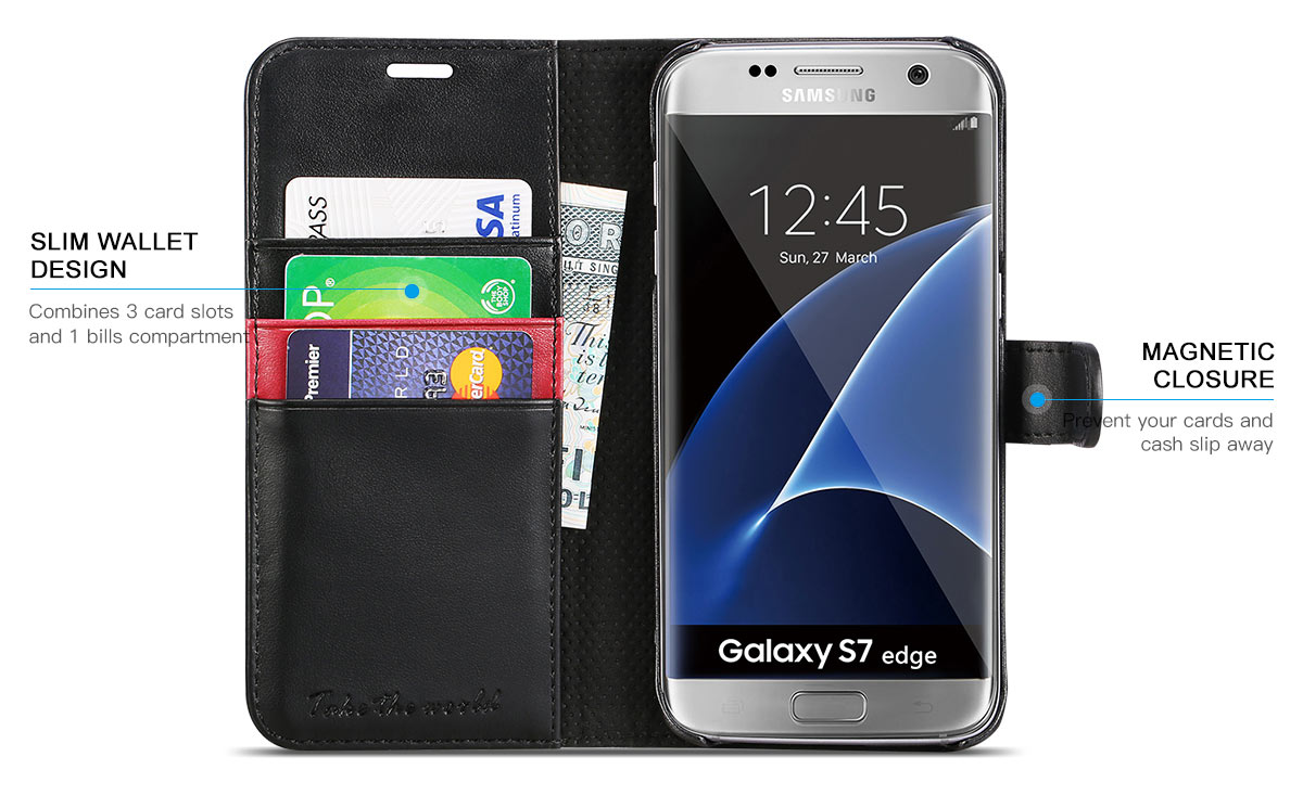 TUCCH Galaxy S7 Edge Folio Wallet Case
