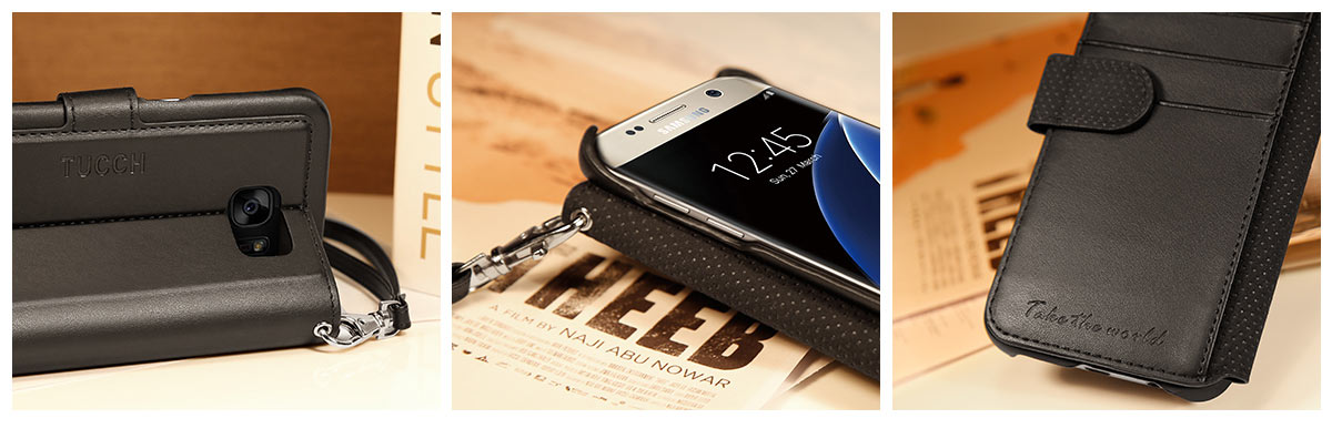 TUCCH Galaxy S7 Edge PU Leather Wallet Case with Wrist Strap
