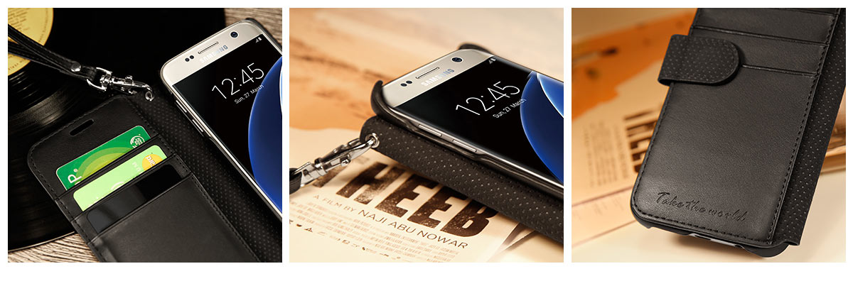 TUCCH Galaxy S7 PU Leather Wallet Case with Wrist Strap
