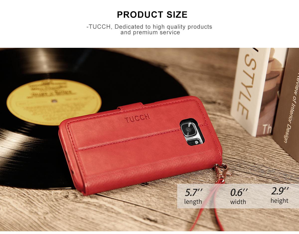 TUCCH Galaxy S7 Flip Folio PU Leather Wallet Case