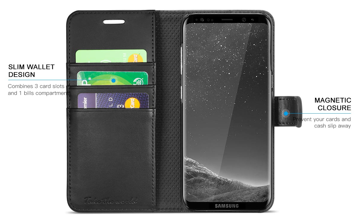 TUCCH Galaxy S8 Magnetic Flip Folio PU Leather Wallet Case