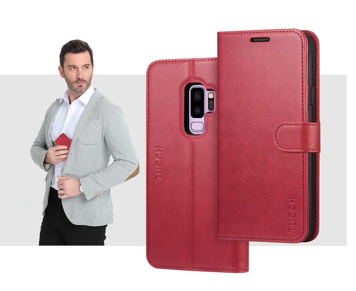 TUCCH Samsung S9 Plus  Leather Case with Kickstand and Magnetic Closure