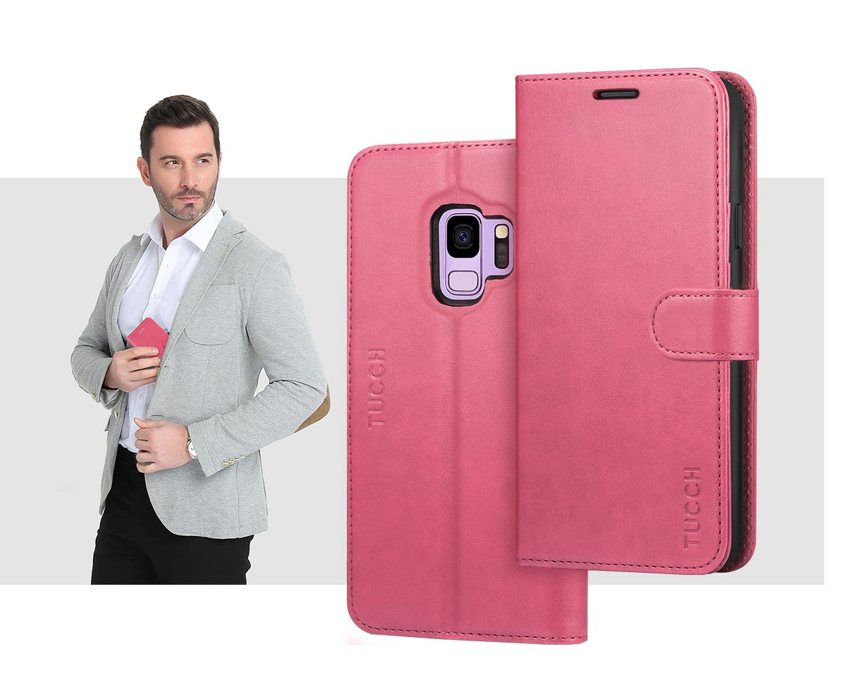 TUCCH SAMSUNG S9 PU Leather Flip Folio Wallet Case