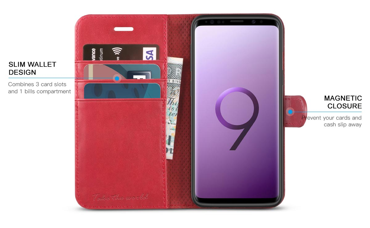 TUCCH Galaxy S9 Wallet Case - PU Leather Case